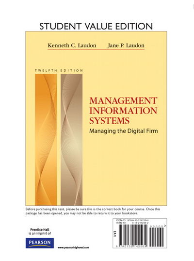 management information systems laudon 12th edition Management information systems: managing the digital firm by kenneth c laudon, jane p laudon starting at $099 management information systems: managing the digital firm has 16 available editions to buy at alibris.