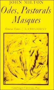 Odes, Pastorals, Masques (Cambridge Milton Series for Schools and Colleges)