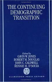 The Continuing Demographic Transition by  Rennie M.D`Souza  John C. Caldwell  - Hardcover  - 1997  - from A - Z Books (SKU: Manohar-9780198292579)