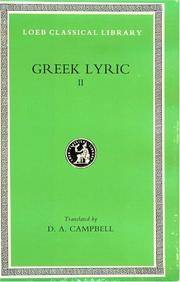 Greek Lyric II: Anacreon, Anacreontea, Choral Lyric from Olympis to Alcman (Loeb Classical Library No. 143) (Volume II) by Anacreon - Hardcover - from Bonita (SKU: 0674991583)