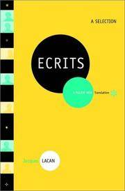 Ecrits: A Selection. [1st hardcover thus].