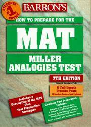 Barron's How to Prepare for the Mat: Miller Analogies Test (Barron's How to Prepare for...