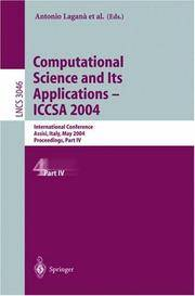 Computational Science And Its Applications, ICCSA 2004: International Conference Assisi, Italy,...