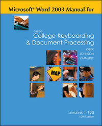 image of Gregg College Keyboarding&Document Processing (GDP), Word 2003 Manual, 10th Edition
