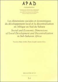Les Dimensions Sociales et Economiques du Developpement Local et la Decentralisation en Afrique...
