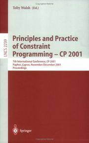 Principles and Practice of Constraint Programming - CP 2001: 7th International Conference, CP 2001, Paphos,… by  Toby [Editor] Walsh - Paperback - 2001-12-06 - from GuthrieBooks (SKU: UTD14A-0730)