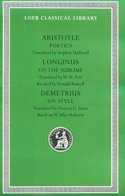 Aristotle:Poetics.; Longinus: On the Sublime; Demetrius: On Style (Loeb Classical Library No. 199) by Aristotle; Longinus; Demetrius - Hardcover - from AUSSIEWORLDBOOKS (SKU: ABYS13471)