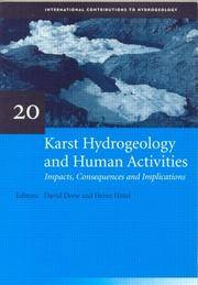 KARST HYDROGEOLOGY & HUMAN ACTIVITIE (International Contributions to Hydrogeology) by  David Drew - Hardcover - 1998 - from DSMBOOKS (SKU: F5S4-0-Z-9054104635-5)