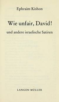Wie Unfair, David Und Andere Israelische Satiren