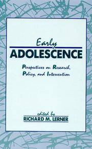 EARLY ADOLESCENCE: PERSPECTIVES ON RESEARCH, POLICY, AND INTERVENTION by LERNER - Hardcover - U. S. EDITION - from HR ENGINEERS BOOKS and Biblio.com