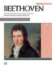 Beethoven -- Selected Intermediate to Early Advanced Piano Sonata Movements, Vol 1 (Alfred Masterwork Library) by Ludwig van Beethoven - Paperback - 1992-02-06 - from Books Express and Biblio.com