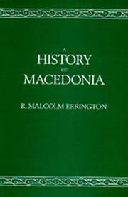 A History of Macedonia by  R.Malcolm Errington - Paperback - First Pbk.Ed. - 1993 - from KALAMOS BOOKS and Biblio.com