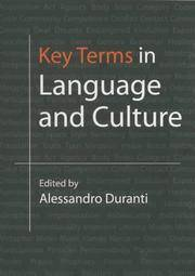 Key Terms in Language and Culture