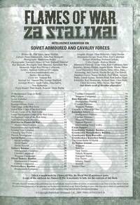 FLAMES OF WAR : ZA STALINA!: INTELLIGENCE HANDBOOK ON SOVIET ARMOURED AND CAVALRY FORCES