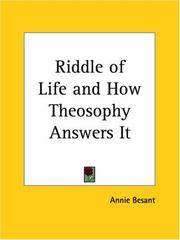 image of Riddle of Life and How Theosophy Answers It