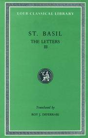 Basil: Letters 186-248, Volume III (Loeb Classical Library No. 243) by Basil - Hardcover - from Bonita (SKU: 0674992687.X)