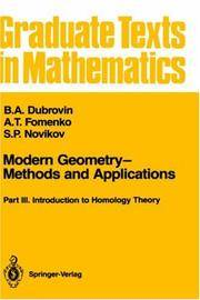 Modern Geometry - Methods and Applications: Part 3: Introduction to Homology Theory (Graduate...