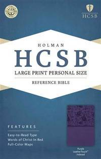 HCSB Large Print Personal Size Bible, Purple LeatherTouch Indexed