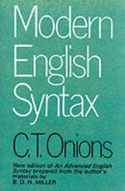 Modern English Syntax by C.T. Onions - Paperback - from Cold Books and Biblio.com