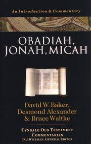Obadiah, Jonah, Micah: An Introduction and Commentary (Tyndale Old Testament Commentaries)