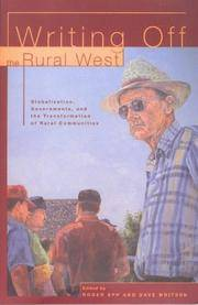 Writing Off the Rural West: Globalization, Governments and the Transformation of Rural Communities