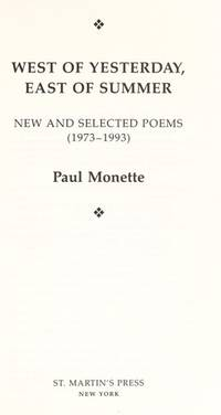 West of Yesterday, East of Summer: New and Selected Poems (1973-1993)