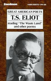 """T.S. Eliot Reading """"The Waste Land"""" and Other Poems/Audio Cassette"""