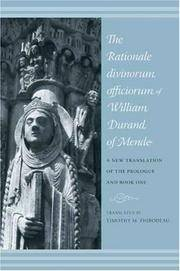 The Rationale Divinorm Officiorum of William Durand of Mende.  A New Translation of the Prologue and Book One (Records of Western Civilization)