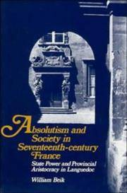 image of Absolutism and Society in Seventeenth-Century France: State Power and Provincial Aristocracy in Languedoc (Cambridge Studies in Early Modern History)