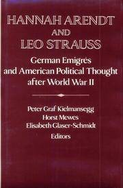 Hannah Arendt and Leo Strauss: German Émigrés and American Political Thought after World War II by  Elisabeth  Host; Glaser-Schmidt - First Edition - 1995 - from SCIENTEK BOOKS (SKU: PI-48)
