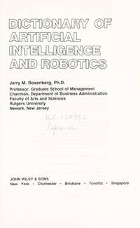 Dictionary of Artificial Intelligence and Robotics