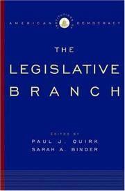 The Legislative Branch: Institutions of American Democracy