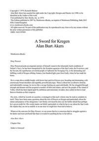 image of Dray Prescot 20 A Sword For Kregen