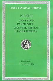 image of Plato: Cratylus. Parmenides. Greater Hippias. Lesser Hippias. (Loeb Classical Library No. 167)