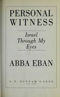 Personal Witness : Israel Through My Eyes
