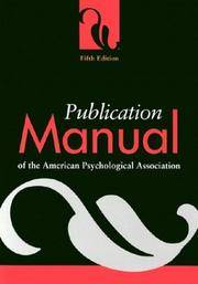 image of Publication Manual of the American Psychological Association, Fifth Edition