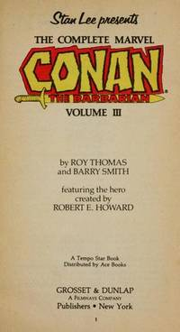 CONAN THE BARBARIAN VOL. 3 by  Barry  Roy / Smith - Paperback - 1978 - from Lion & Phoenix Books and Biblio.com