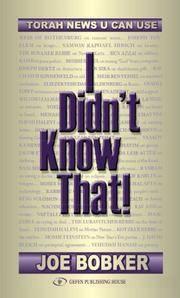 I Didn't Know That: Torah News U Can Use