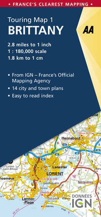 Brittany Touring Map (AA Road Map France)