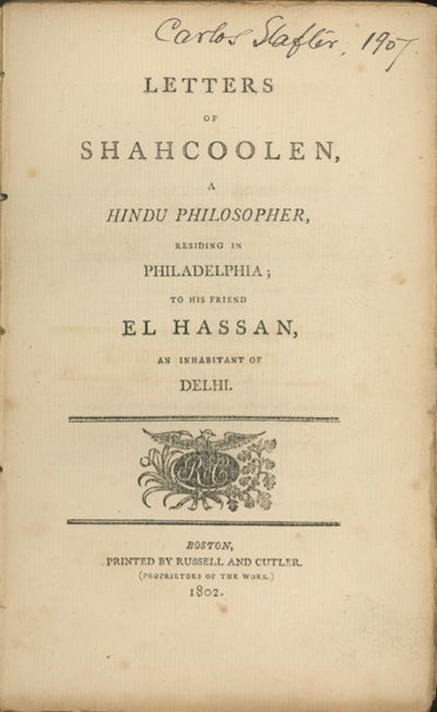Boston: Printed by Russell and Cutler, 1802, 1802. First edition. American Bibliography 2490; Sabin ...