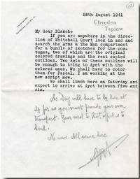 "[Typed Letter, Signed With Initials, to Blanche Patch, with Four Costume Designs for ""Arms & The Man""]"