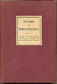 Studies in Bibliography: Papers of the Bibliographical Society of the University of Virginia Vol. 5