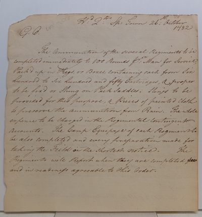 Spanish Town, Jamaica, 1782. unbound. 2 pages (front and back), 7.75 x 7.75 inches, Head Quarters, S...