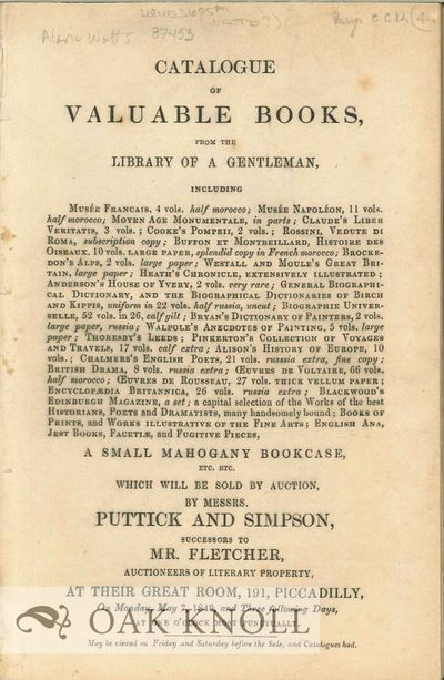 London: Puttick and Simpson, 1849. self paper wrappers. Watts, Alaric Alexander. small 8vo. self pap...