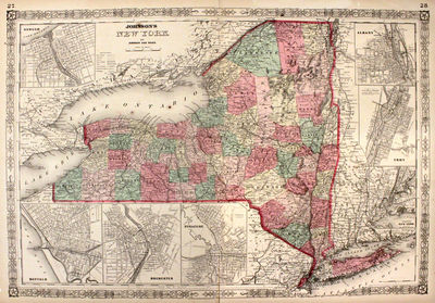 New York: Johnson & Ward, 1864. unbound. very good. Map. Engraving with original hand coloring. Imag...