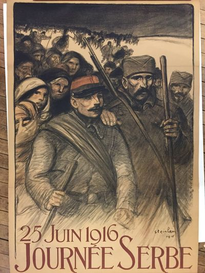 Paris, 1916. Original poster. Lithograph. 47 x 31.25 inches. A celebration of Franco-Serbian solidar...