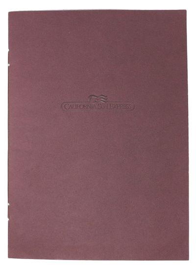 (n.p.), (n.d.). 1st Printing. Maroon, card stock wrappers, card stock leaves, printed in blue, held ...