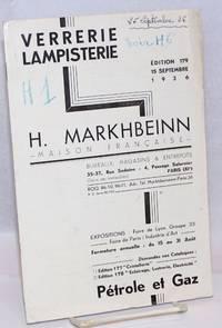 Verrerie Lampisterie H. Markhbeinn-Maison Francaise-; Edition 179, 15 Septembre 1936