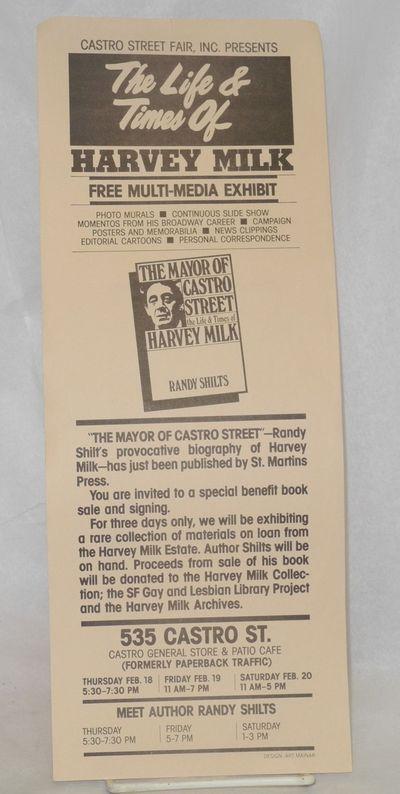 San Francisco: Castro Street Fair, Inc, 1982. Single-sheet handbill 5.25x14 inches black text on tan...