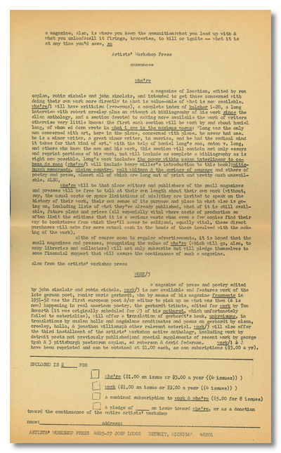 Detroit: The Artists Workshop Press / Society, 1965. Whole #3 (of 5 published). Quarto. Mimeographed...
